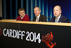 +++ FREE USE FOR STORIES PROMOTING THE UEFA SUPER CUP 2014 ONLY +++<br /> <br /> CARDIFF, WALES - Monday, February 17, 2014: Cardiff City manager manager Ole Gunnar Solskj&aelig;r, John Griffiths Minister for Culture and Sport and Chief-Executive Jonathan Ford at the launch the UEFA Super Cup 2014 which will be played at the Cardiff City Stadium on 12th August. (Pic by David Rawcliffe/Propaganda)