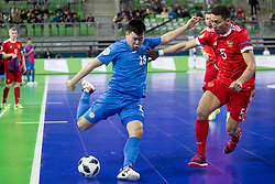 Dauren Tursagulov of Kazakhstan during futsal match between National teams of Kazakhstan and Russia at Day 5 of UEFA Futsal EURO 2018, on February 3, 2018 in Arena Stozice, Ljubljana, Slovenia. Photo by Urban Urbanc / Sportida
