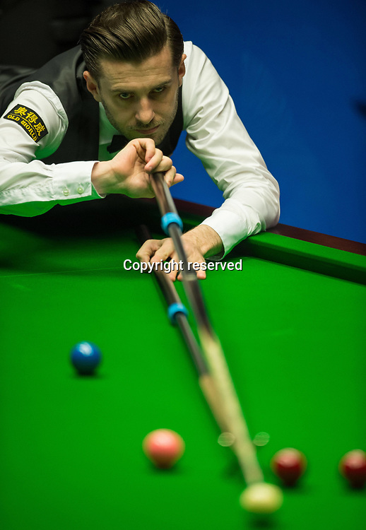 April 27th 2017,  Mark Selby of England competes during the first session of the semifinal match against Ding Junhui of China during the World Snooker Championship 2017 at the Crucible Theatre in Sheffield
