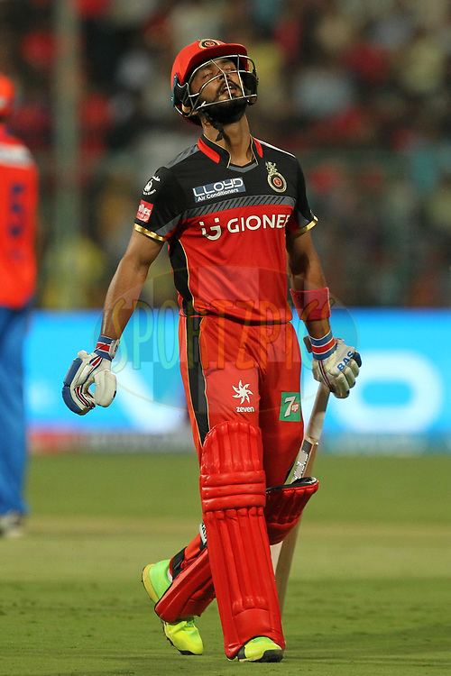 Mandeep Singh of Royal Challengers Banglore departs during match 31 of the Vivo 2017 Indian Premier League between the Royal Challengers Bangalore and the Gujarat Lions   held at the M.Chinnaswamy Stadium in Bangalore, India on the 27th April 2017Photo by Prashant Bhoot - Sportzpics - IPL