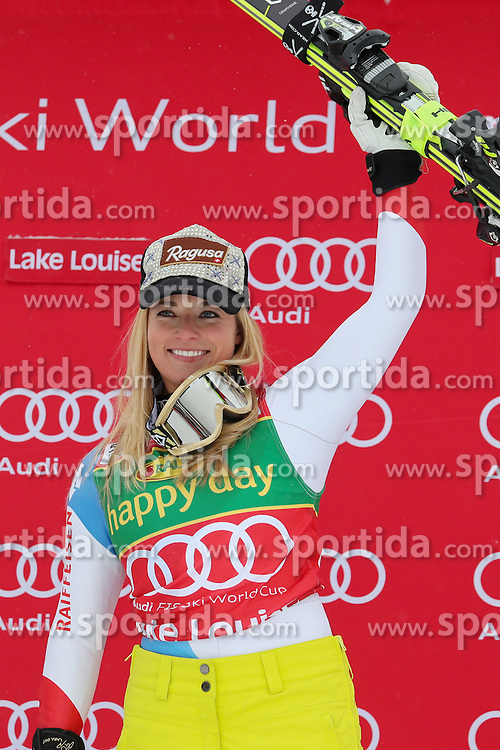 04.12.2016, Lake Louise, USA, FIS Weltcup Ski Alpin, Lake Louise, Super G, Damen, Siegerpr&auml;sentation, im Bild Lara Gut (SUI, 1. Platz) // race winner Lara Gut of Switzerland during the winner presentation for the women's SuperG of the Lake Louise FIS Ski Alpine World Cup at the Lake Louise, United States on 2016/12/04. EXPA Pictures &copy; 2016, PhotoCredit: EXPA/ SM<br /> <br /> *****ATTENTION - OUT of GER*****