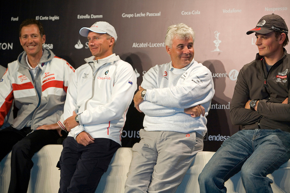 America's Cup 2007 Louis Vuitton Act 13, 2/4/07. .From left, Francesco de Angelis (ITA) skipper of Luna Rossa Challenge (ITA); Chris Dickson (NZL) skipper of BMW Oracle Racing (USA), Brad Butterworth (NZL) skipper of the America's Cup holder Alinghi (SUI); and Dean Barker (NZL) skipper of Emirates Team New Zealand (NZL)