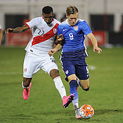 ARON JOHANSSON of the USA tries to control the ball during an international friendly between the United States and Peru at RFK Stadium in Washington, DC.