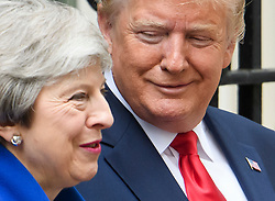 © Licensed to London News Pictures. 04/06/2019. London, UK. President of the United States of America, DONALD TRUMP is greeted at 10 Downing Street by British Prime Minister THERESA MAY, on day two of a state visit to the UK. Photo credit: Ben Cawthra/LNP