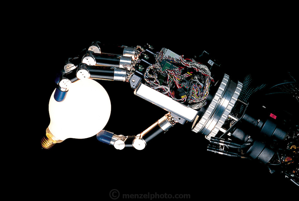 Robotic articulated hand from the Deutsches Zentrum für Luft und Raumfahrt (German Aerospace Center), in the countryside outside Munich, Germany. From the book Robo sapiens: Evolution of a New Species, page 5.
