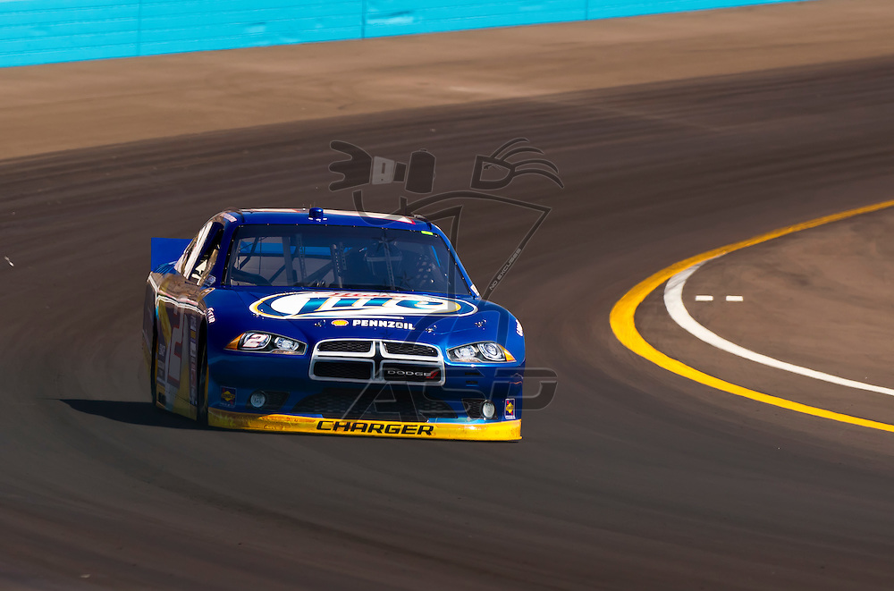AVONDALE, AZ - MAR 03, 2012:  Brad Keselowski (2) brings his NASCAR Sprint Cup car through turn 4 during qualifying for the Subway Fresh Fit 500 race at the Phoenix International Raceway in Avondale, AZ.