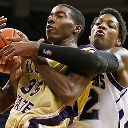 November 27, 2011; New Orleans, LA; New Orleans Privateers forward Lovell Cook (32) defends against Alcorn State Braves forward KeDorian Sullivan (35)during the second half of a game at the Lakefront Arena. New Orleans defeated Alcorn St. 63-56. Mandatory Credit: Derick E. Hingle-US PRESSWIRE
