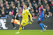 Chelsea midfielder Eden Hazard (10) and Crystal Palace defender	Mamadou Sakho (12) during the Premier League match between Crystal Palace and Chelsea at Selhurst Park, London, England on 30 December 2018.