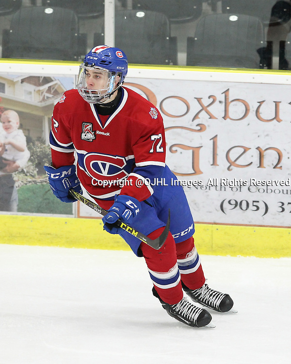 COBOURG, - Mar 9, 2016 -  Ontario Junior Hockey League game action between Kingston Voyageurs and Cobourg Cougars. Game 4 of the first round playoff series. At the Cobourg Community Centre, ON. Connor Cobbold #72 of the Kingston Voyageurs follows the play during the second period. (Photo by Tim Bates / OJHL Images)