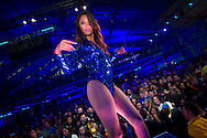 A stage dancer appears at the Bud Light Hotel during Super Bowl XLVI activities in Indianapolis, Indiana. Michael Hickey, Getty Images for Yahoo.