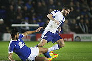 Peterborough United defender Ryan Tafazolli (5) stops Chesterfield FC striker Ched Evans (9) during the EFL Sky Bet League 1 match between Peterborough United and Chesterfield at London Road, Peterborough, England on 10 December 2016. Photo by Nigel Cole.