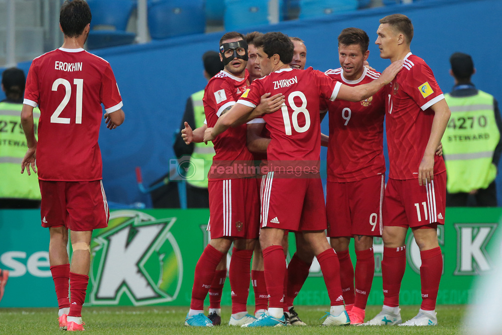 June 17, 2017 - Saint Petersburg, Russia - Players of the Russian national football team celebrates after scoring goal during the 2017 FIFA Confederations Cup match, first stage - Group A between Russia and New Zealand at Saint Petersburg Stadium on June 17, 2017 in St. Petersburg, Russia. (Credit Image: © Igor Russak/NurPhoto via ZUMA Press)