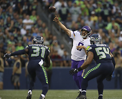 August 18, 2017 - Seattle, WA, U.S.A - Vikings quarterback Sam Bradford (8) threw a completion in the second quarter.    ]  JEFF WHEELER • jeff.wheeler@startribune.com ....The Minnesota Vikings faced the Seattle Seahawks in a preseason NFL game Friday night, August 18, 2017 at CenturyLink Field in Seattle. (Credit Image: © Jeff Wheeler/Minneapolis Star Tribune via ZUMA Wire)