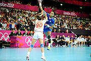 DESCRIZIONE : Handball Jeux Olympiques Londres Quart de Finale<br /> GIOCATORE : Pineau Allison FRA<br /> SQUADRA : France Femme<br /> EVENTO : FRANCE Handball Jeux Olympiques<br /> GARA : France Montenegro<br /> DATA : 08 08 2012<br /> CATEGORIA : handball Jeux Olympiques<br /> SPORT : HANDBALL<br /> AUTORE : JF Molliere <br /> Galleria : France JEUX OLYMPIQUES 2012 Action<br /> Fotonotizia : France Handball Femme Jeux Olympiques Londres Quart de Finale Copper Box<br /> Predefinita :