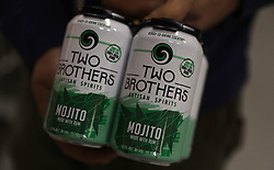 November 1, 2018 - Aurora, IL, USA - Mojitos in cans are the latest products by Two Brothers Roundhouse distillery in Aurora, Thursday Nov. 1, 2018. (Credit Image: © Abel Uribe/Chicago Tribune/TNS via ZUMA Wire)