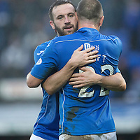 St Johnstone v Ross County....22.11.14   SPFL<br /> James McFadden celebrates his goal with Lee Croft<br /> Picture by Graeme Hart.<br /> Copyright Perthshire Picture Agency<br /> Tel: 01738 623350  Mobile: 07990 594431