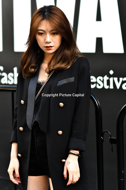 Fashionista attend London Fashion Week Festival last day at 180 Strand, London, UK. 23 September 2018.