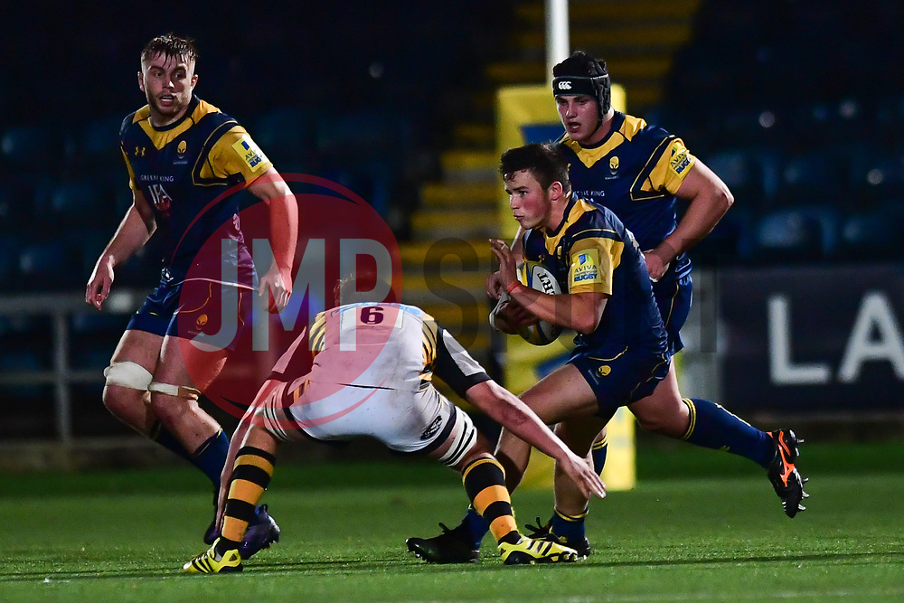 Will Butler of Worcester Cavaliers is tackled by Will Owen of Wasps - Mandatory by-line: Craig Thomas/JMP - 23/10/2017 - RUGBY - Sixways Stadium - Worcester, England - Worcester Cavaliers v Wasps - Aviva A League