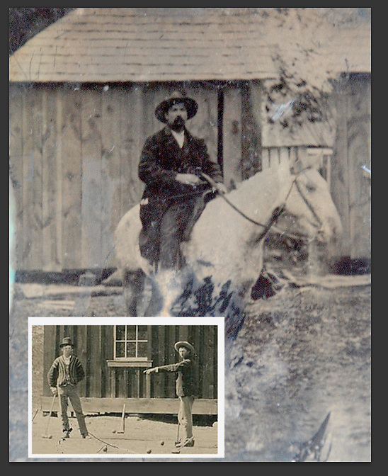 Frank Abrams' possible Billy the Kid and Pat Garrett tintype. The man on the horse is part of Abrams' collection. Below is the photo of Billy the Kid playing croquet. Abrams is comparing the building structures of the pictures. (courtesy of Frank Abrams)