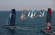 Extreme Sailing Series 2011. Leg 1. Muscat. Oman.Day 1 of racing , Artemis Racing, Groupe Edmond De Rothschild and The Wave Muscat race the fleet to the top mark