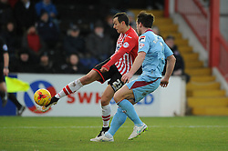 Exeter City's Alex Nicholls  takes a shot at goal. - Photo mandatory by-line: Dougie Allward/JMP - Mobile: 07966 386802 - 31/01/2015 - SPORT - Football - Exeter - St James Park - Exeter City v Tranmere Rovers - Sky Bet League Two