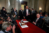 Senator Jeff Sessions poses for photographers before the lunch break of his confirmation hearing to become Attorney General.  The hearing was held in the Caucus Room of the Russell Senate Office Building on January 10, 2017.<br /> <br /> Photo by Dennis Brack