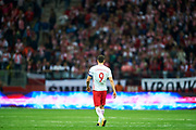 Warsaw, Poland - 2017 September 04: Robert Lewandowski from Poland walk on the pitch after soccer match Poland v Kazakhstan - FIFA 2018 World Cup Qualifier at PGE National Stadium on September 04, 2017 in Warsaw, Poland.<br /> <br /> Adam Nurkiewicz declares that he has no rights to the image of people at the photographs of his authorship.<br /> <br /> Picture also available in RAW (NEF) or TIFF format on special request.<br /> <br /> Any editorial, commercial or promotional use requires written permission from the author of image.<br /> <br /> Mandatory credit:<br /> Photo by &copy; Adam Nurkiewicz / Mediasport
