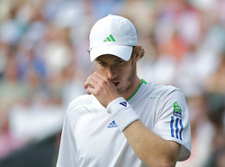 LONDON, ENGLAND - Friday, July 1, 2011: Andy Murray (GBR) looks dejected during the Gentlemen's Singles Semi-Final match on day eleven of the Wimbledon Lawn Tennis Championships at the All England Lawn Tennis and Croquet Club. (Pic by David Rawcliffe/Propaganda)