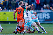 Castleford Tigers hooker Paul McShane (9) points the way  during the Betfred Super League match between Castleford Tigers and Widnes Vikings at the Jungle, Castleford, United Kingdom on 11 February 2018. Picture by Simon Davies.