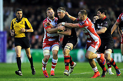 Mike Coman of Edinburgh Rugby takes on the Gloucester defence - Photo mandatory by-line: Patrick Khachfe/JMP - Mobile: 07966 386802 01/05/2015 - SPORT - RUGBY UNION - London - The Twickenham Stoop - Edinburgh Rugby v Gloucester Rugby - European Rugby Challenge Cup Final