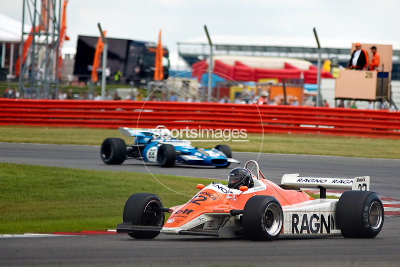 Car No 32 heads around Luffield. Silverstone Classic - 66-85 F1- 25/7/10. Before damage