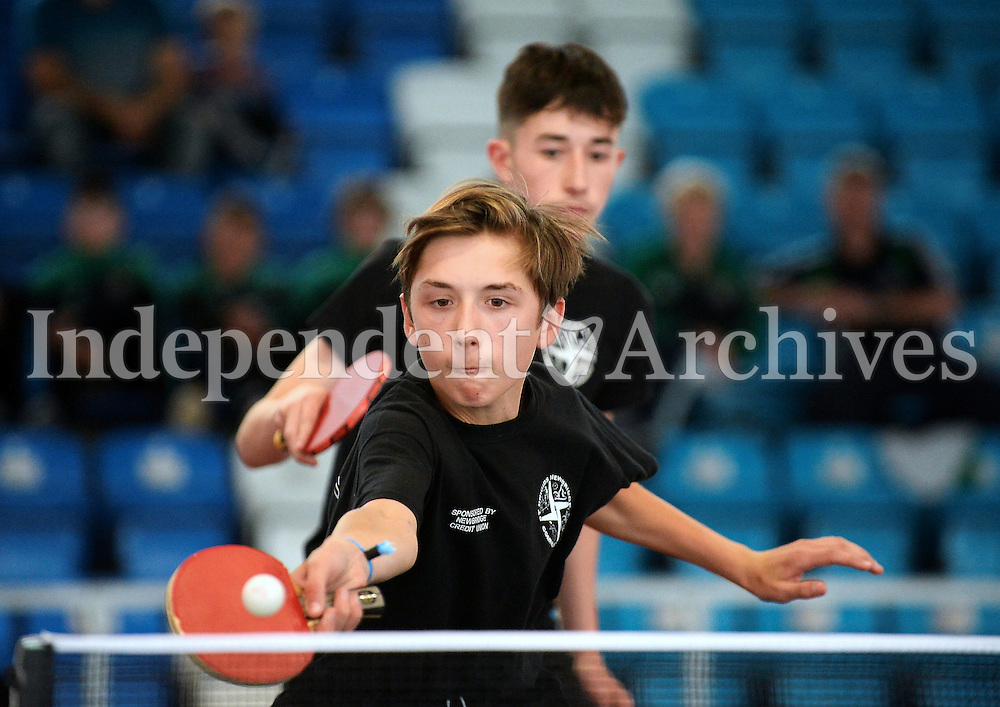 14 Aug 2016:  Petar Kokic, 15, in action during the match (with team-mate Sean Cummins, 15) from St. Brigids, Newbridge for team Leinster.  U16 Table Tennis Doubles Final, Kildare, Leinster v Sligo, Connaught.  2016 Community Games National Festival 2016.  Athlone Institute of Technology, Athlone, Co. Westmeath. Picture: Caroline Quinn