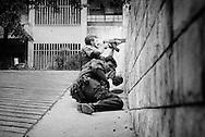 Mostar, Bosnia, June 1993.<br /> <br /> Bosnian Croat police in firefight with Bosnian Muslims, frontline, Mostar.