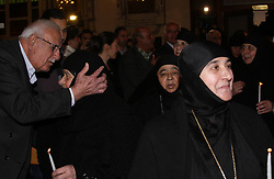 61195256<br /> The freed nuns attend a prayer in the Cross Church in the Christian predominately Qassaa neighbourhood in Damascus, Syria, March 10, 2014. A total of 13 Syrian nuns and three Christian female teachers kidnapped by Syria's radical rebels late last year have been released, according to the pan-Arab al-Mayadeen TV, Monday, 10th March 2014. Picture by  imago / i-Images<br /> UK ONLY