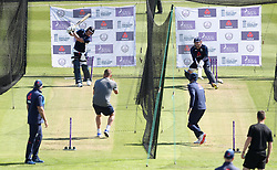 England's Ben Stokes (left) and Jonny Bairstow (right) batting during the nets session at the Bristol County Ground.