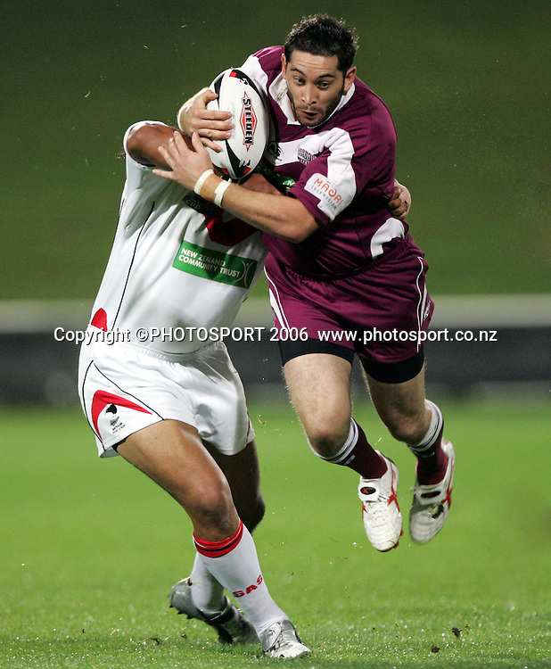 Tane Hart in action for Harbour during the Bartercard Cup rugby league match between North Harbour and Counties-Manukau at North Harbour Stadium, Auckland on Monday 3rd April, 2006. Counties-Manukau won the match, 20 - 14. Photo: Hannah Johnston/PHOTOSPORT<br />