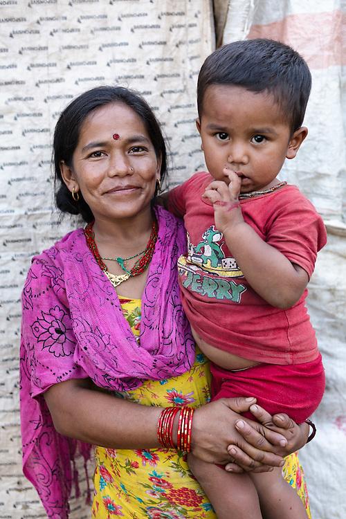 Sarala Thapa and her son, Babare, Dolakha, Nepal.