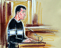 ©PRISCILLA COLEMAN ITV NEWS 13.11.03.SUPPLIED BY: PHOTONEWS SERVICE LTD OLD BAILEY.PIC SHOWS: JONATHAN BUTLER, ASSISTANT CARETAKER AT SOHAM COLLEGE GIVING EVIDENCE AT THE TRIAL OF IAN HUNTLEY AND MAXINE CARR-SEE STORY.ILLUSTRATION: PRISCILLA COLEMAN ITV NEWS