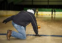 Herb Greene curling at the Arthur Tilton Ice Rink.  Karen Bobotas for the Laconia Daily Sun