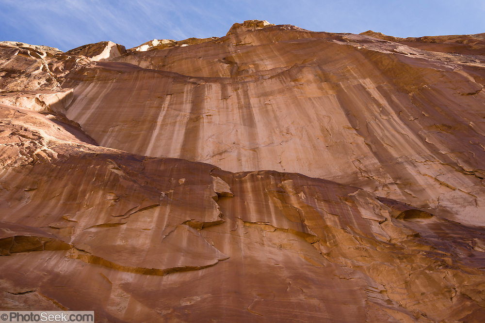 Desert varnish in Grand Wash, Capitol Reef National Park, Utah, USA. Capitol Reef National Park is centered upon the 100-mile-long Waterpocket Fold, the steep eastern limb of the Circle Cliffs Uplift, formed in Late Cretaceous time, during the Laramide Orogeny. Manganese-rich desert varnish requires thousands of years to coat a rock face that is protected from precipitation and wind erosion. The varnish likely originates from airborne dust and external surface runoff, including: clay minerals, oxides and hydroxides of manganese (Mn) and/or iron (Fe), sand grains, trace elements, and usually organic matter. Streaks of black varnish often occur where water cascades over cliffs protected from wind. Varnish color varies from shades of brown to black. Manganese-poor, iron-rich varnishes are red to orange, and intermediate concentrations are shaded brown. Manganese-oxidizing microbes may explain the unusually high concentration of manganese in black desert varnish, which can be smooth and shiny where densest. Steeply tilted Triassic and Jurassic rocks form the hogbacks of the Waterpocket Fold and Capitol Reef, which is built of dark-red dune-formed Wingate Sandstone, thinly bedded river deposits of the Kayenta Formation, crested by the massive, white, dune-formed Navajo Sandstone.