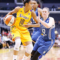 17 June 2014: Los Angeles Sparks guard Lindsey Harding (10) drives to the basket past Minnesota Lynx guard Lindsay Whalen (13) during the Minnesota Lynx  94-77 victory over the Los Angeles Sparks, at the Staples Center, Los Angeles, California, USA.