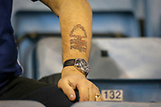Nottingham Forest football fan, football supporter, tattoo, during the EFL Sky Bet Championship match between Millwall and Nottingham Forest at The Den, London, England on 6 December 2019.