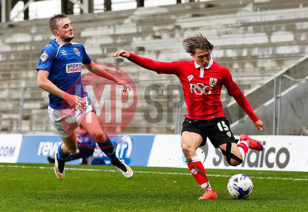 Bristol City's Luke Freeman crosses the ball - Photo mandatory by-line: Matt McNulty/JMP - Mobile: 07966 386802 - 03/04/2015 - SPORT - Football - Oldham - Boundary Park - Oldham Athletic v Bristol City - Sky Bet League One