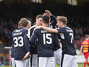 Dundee&rsquo;s Kane Hemmings is congraulated after opening the scoring - Partick Thistle v Dundee, Ladbrokes Premiership at Firhill<br /> <br /> <br />  - &copy; David Young - www.davidyoungphoto.co.uk - email: davidyoungphoto@gmail.com