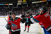KELOWNA, BC - OCTOBER 12: Michael Farren #16 of the Kelowna Rockets celebrates a goal against the Kamloops Blazers at Prospera Place on October 12, 2019 in Kelowna, Canada. (Photo by Marissa Baecker/Shoot the Breeze)