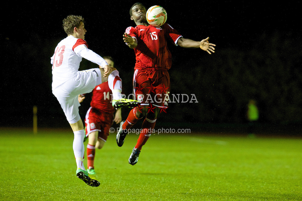 CONNAH'S QUAY, WALES - Thursday, March 20, 2014: Wales' Ibi Sosani in action against Poland during the Under-15's International Friendly match at the Deeside Stadium. (Pic by David Rawcliffe/Propaganda)