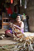 Woman weaving mats, Island of Taveuni, Fiji, Melanesia, South Pacific