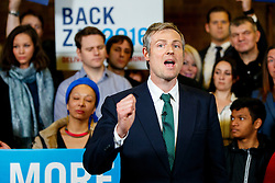 © Licensed to London News Pictures. 07/04/2016. London, UK. Conservative's Mayor of London candidate ZAC GOLDSMITH holding a mayoral rally with current Mayor of London Boris Johnson at Christ Church in Wanstead, east London on Thursday, 7 April 2016. Photo credit: Tolga Akmen/LNP