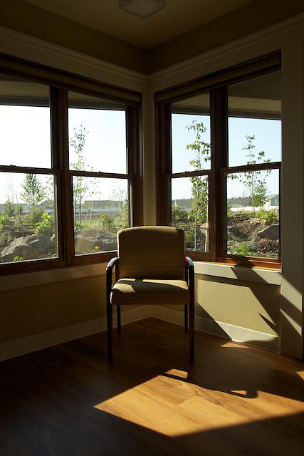 Interior photos of the Hospice of North Idaho hospice house in Hayden, Idaho.
