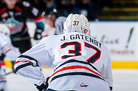 KELOWNA, CANADA - SEPTEMBER 24: Joe Gatenby #37 of the Kamloops Blazers stands on the ice against the Kelowna Rockets on September 24, 2016 at Prospera Place in Kelowna, British Columbia, Canada.  (Photo by Marissa Baecker/Shoot the Breeze)  *** Local Caption *** Joe Gatenby;